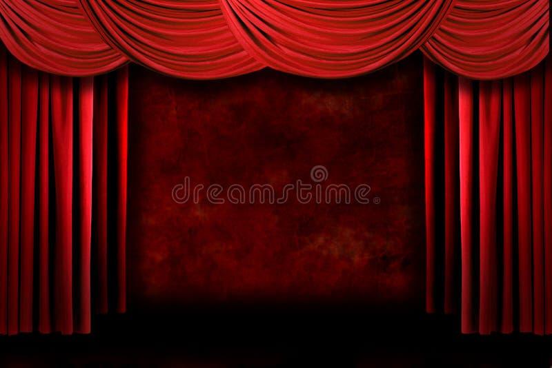 драматическо задрапировывает театр этапа grungy ligh красный бесплатная иллюстрация