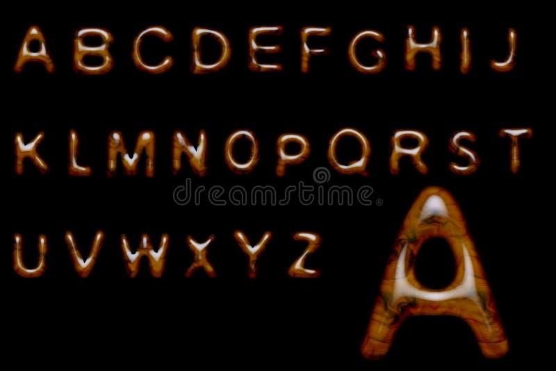 древесина алфавита лоснистая иллюстрация вектора