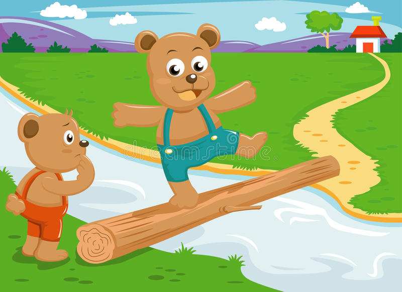древесина брата моста медведя баланса иллюстрация штока