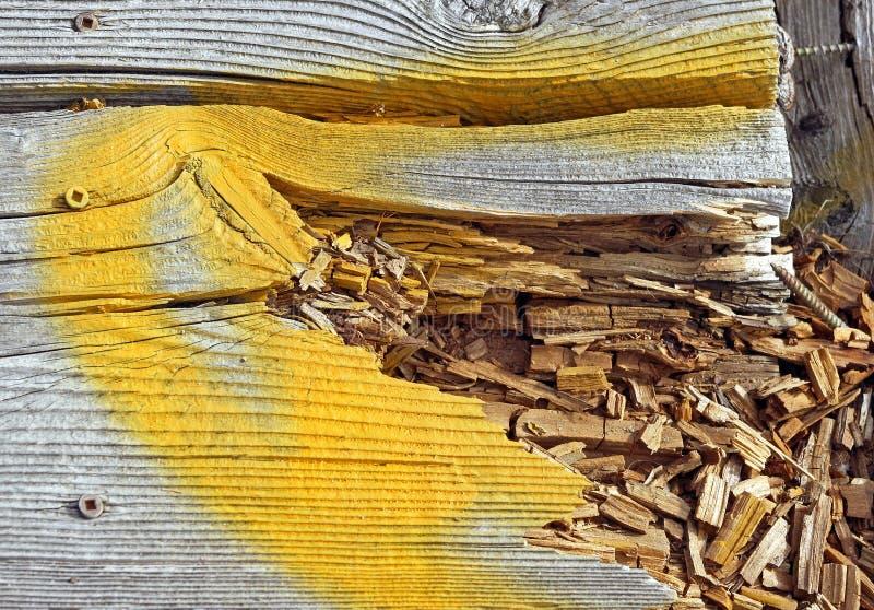 Древесина гнить на променаде в потребности ремонта стоковые фото
