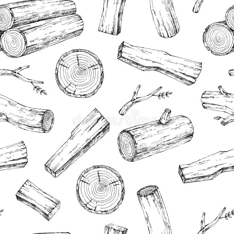 Древесина, горящие материалы Собрание иллюстрации эскиза вектора Материалы для деревянной индустрии Пень, ветвь, тимберс Дерево иллюстрация вектора
