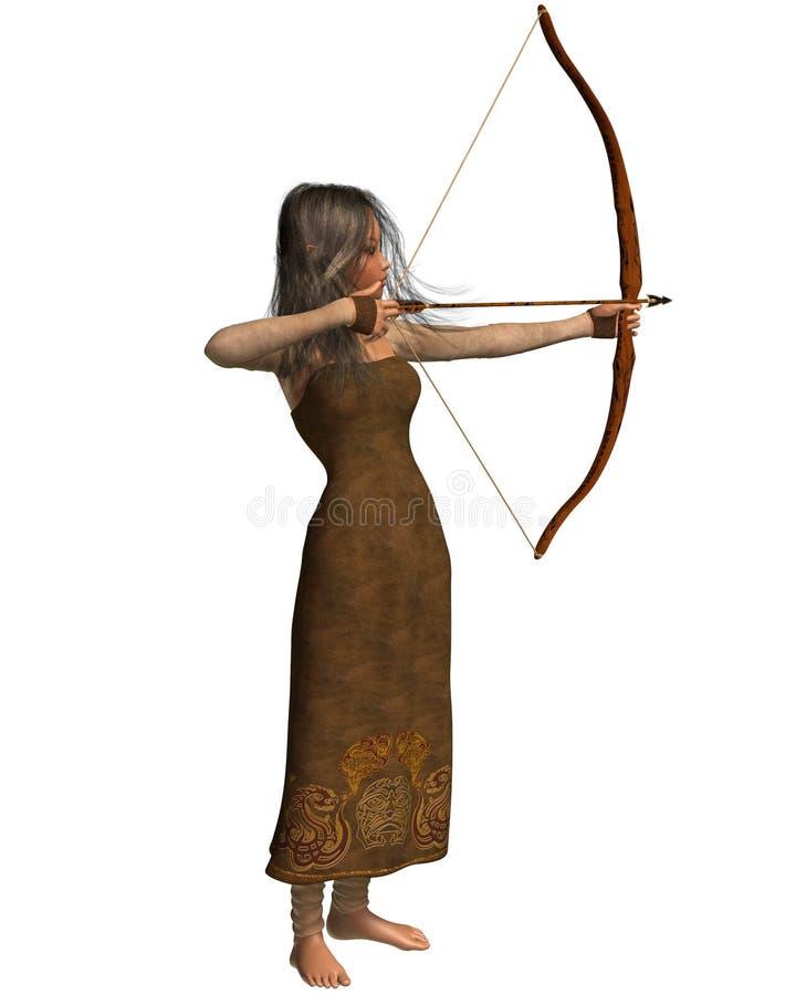 древесина девушки эльфа лучника иллюстрация вектора