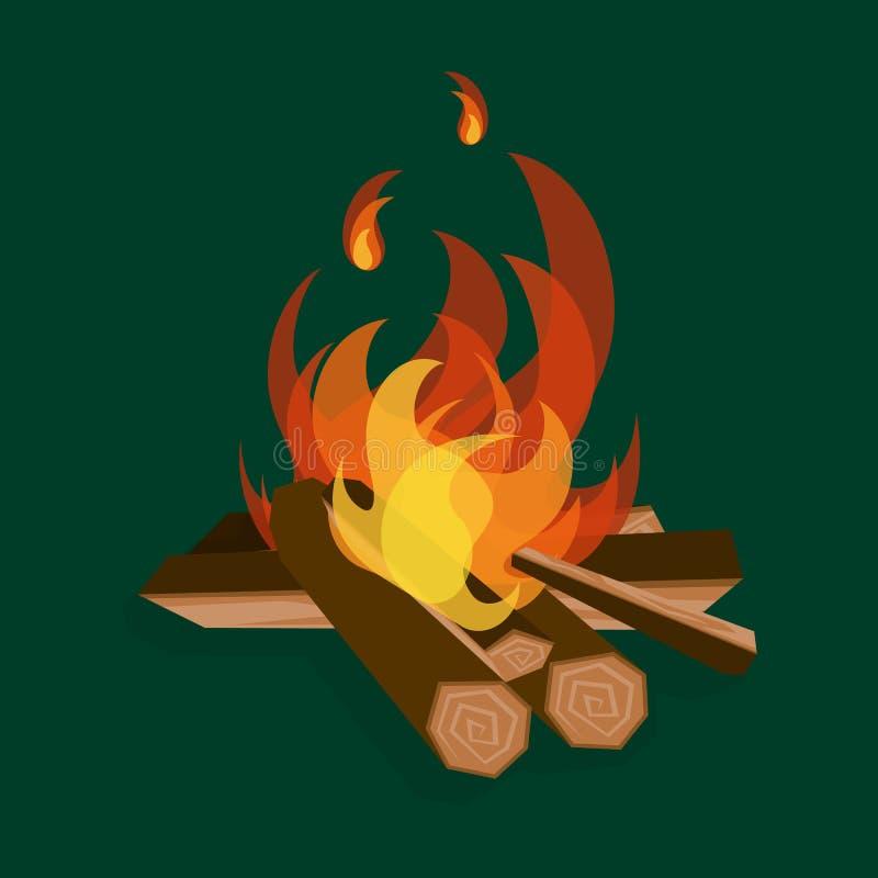 Древесина и лагерный костер огня мультфильма на зеленом цвете r иллюстрация вектора