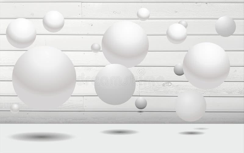 Древесина и шарики абстрактного искусства стены 3D белая бесплатная иллюстрация