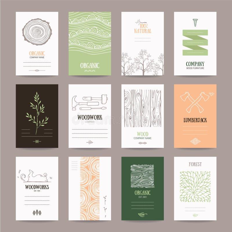 Древесина Компания, работа по дереву, внося в журнал шаблон карточки индустрии бесплатная иллюстрация