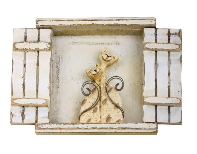 древесина окна сбора винограда котов handmade старая стоковые изображения