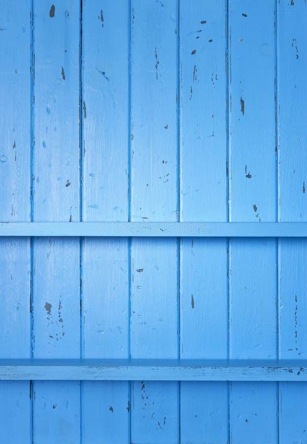 Древесина покрашенная синью Shelves предпосылка стоковые изображения rf