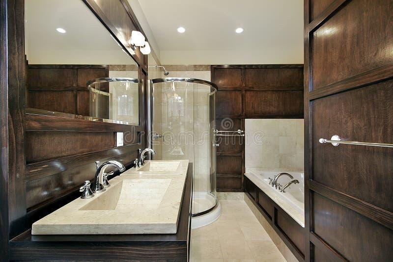 древесина paneling ванны мастерская стоковое фото