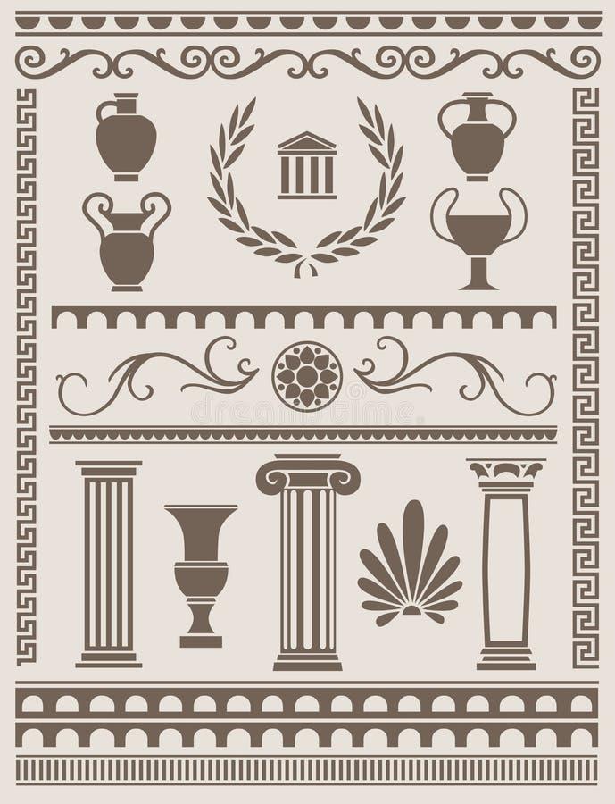 Древнегреческий и римские элементы дизайна иллюстрация вектора