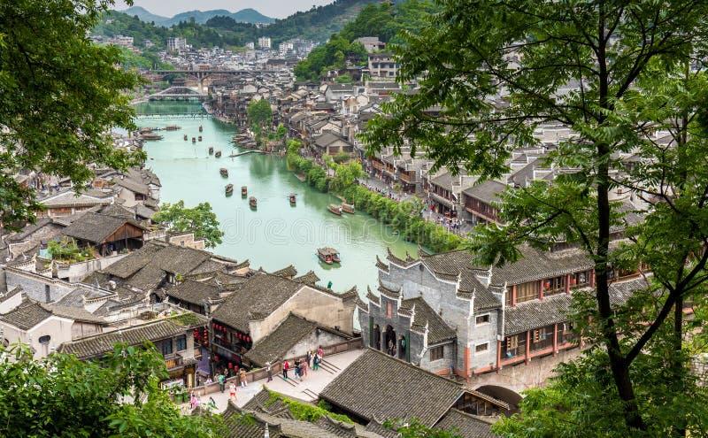 Древний город Feng huang сверху стоковая фотография