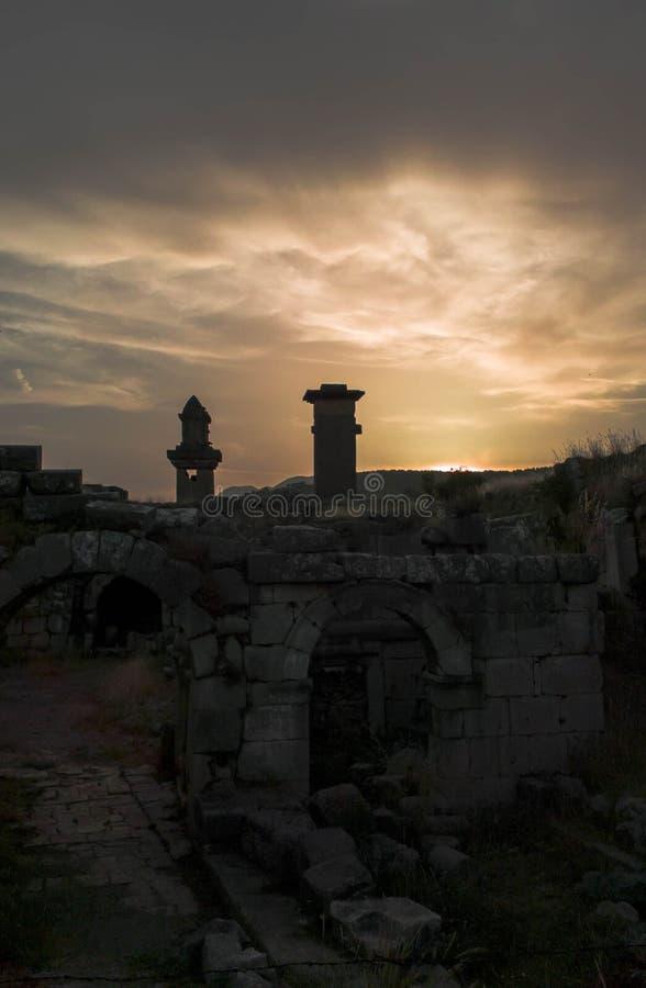Древний город Xanthos под заходом солнца стоковые изображения