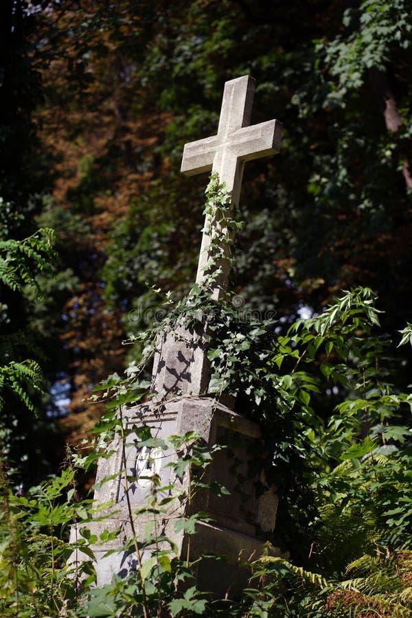 Древний надгробный камень с старинным крестом стоковая фотография