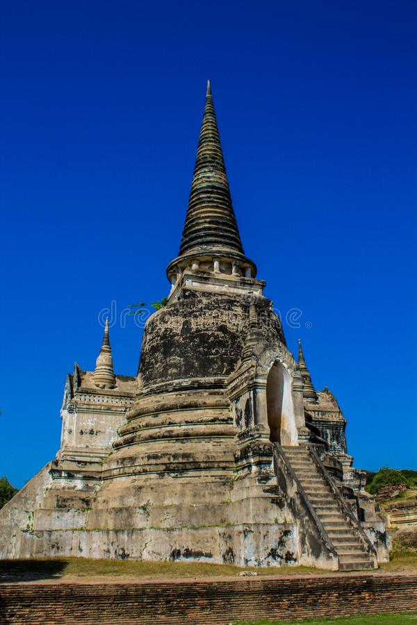 Древний храм Wat Phra Sri Sanphet парка Phra Nakhon Si Ayutthaya исторический стоковые изображения