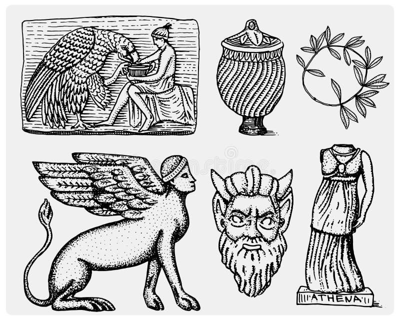 Древняя греция, античные символы Ganymede и anphora орла, ваза, статуя Афины и сатир маскируют год сбора винограда, выгравированн бесплатная иллюстрация