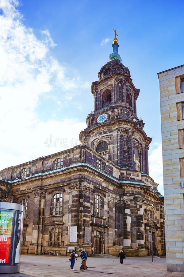 ДРЕЗДЕН, ГЕРМАНИЯ 8-ОЕ СЕНТЯБРЯ 2015: Дрезден Frauenkirche (Chur стоковые фотографии rf