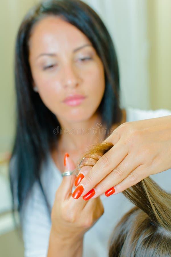 Дрессер волос крепко на работе стоковые изображения
