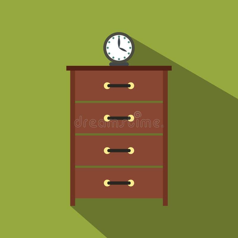 Дрессер с значком часов плоским иллюстрация штока