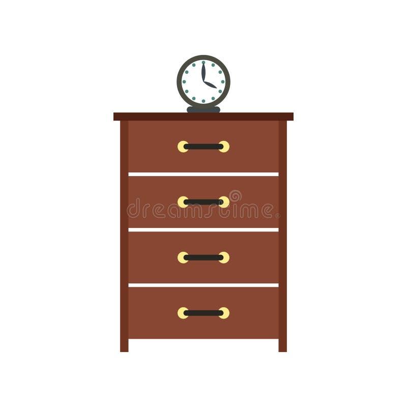 Дрессер с значком часов плоским бесплатная иллюстрация