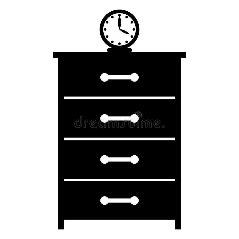 Дрессер с значком часов простым иллюстрация штока
