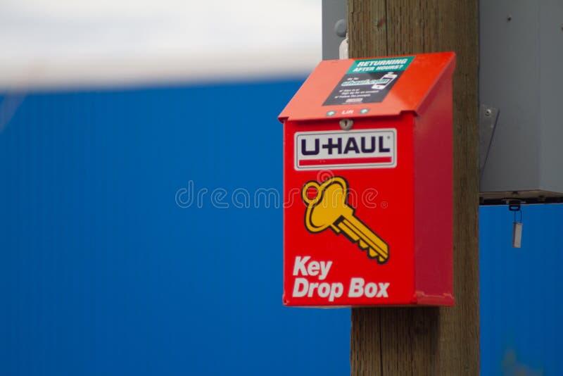 Дропбокс, где вы бросаете ключи для грузовика UHAUL стоковая фотография
