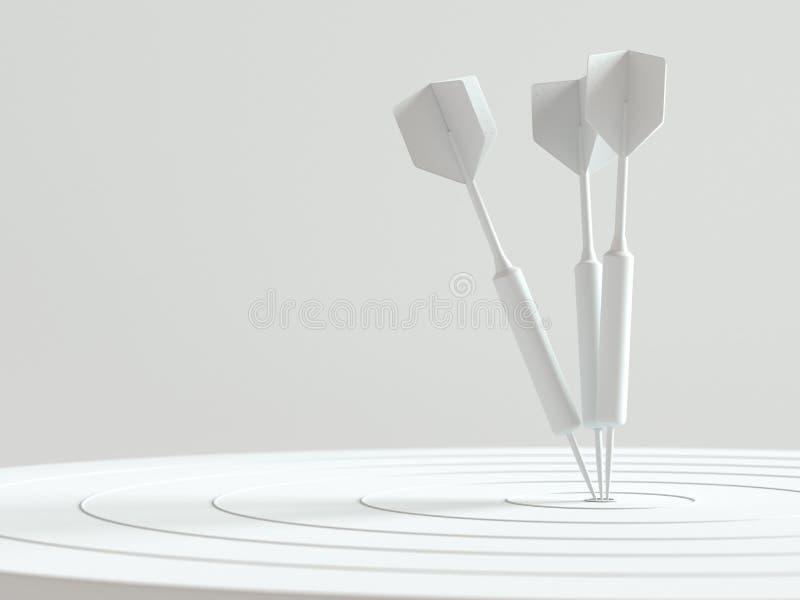 Дротики ударяя в концепции центра цели минимальной иллюстрация вектора