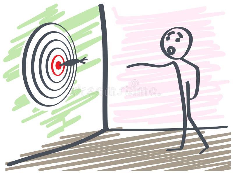 Дротики человека бросая иллюстрация вектора