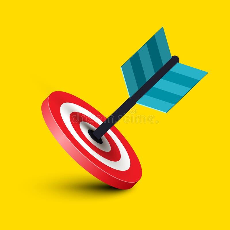 Дротик в значке вектора цели Символ успеха в бизнесе бесплатная иллюстрация