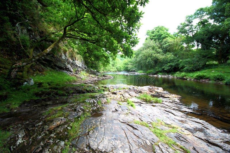Дротик реки, национальный парк Dartmoor, Девон, Великобритания стоковое изображение