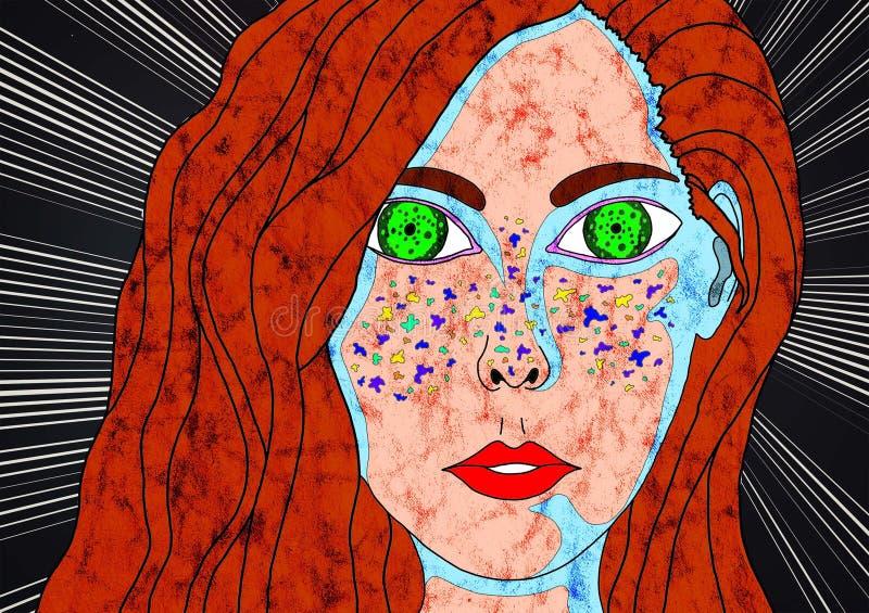 Другие волосы красного цвета девушки красоты иллюстрация штока