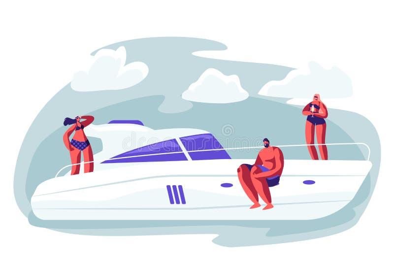Друг Компания ослабляя на роскошной яхте на океане иллюстрация штока