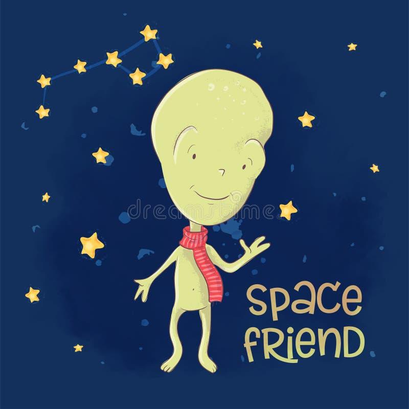 Друг космоса чужеземца плаката открытки милый r r r иллюстрация вектора