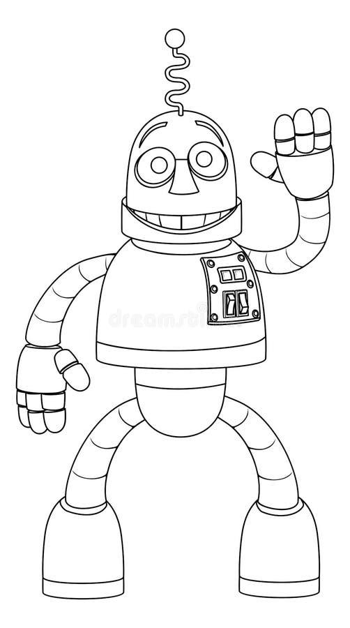 Дружелюбные дети робота крася персонаж из мультфильма иллюстрация вектора