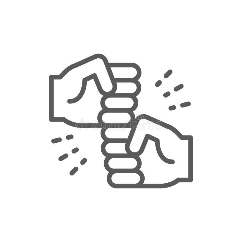 Дружелюбные жесты, радостная линия пуншей значок иллюстрация штока