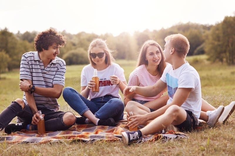 4 дружелюбных малолетки тратят свободное время внешнее, сидят на шотландке, имеют приятную беседу, выпивают сидр, имеют приятные  стоковые изображения
