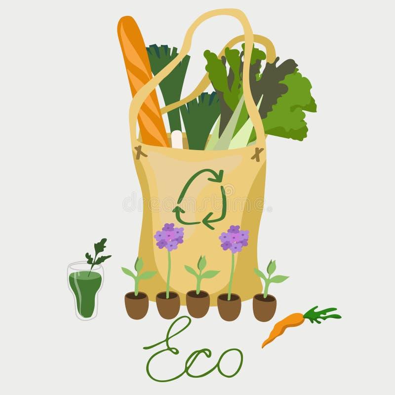 дружественная к Эко сумка с изображением вектора натуральных продуктов бесплатная иллюстрация
