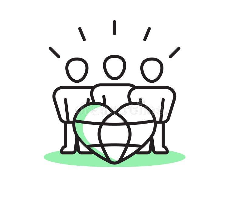 дружественные к Эко люди Плоская линия иллюстрация стоковые изображения rf