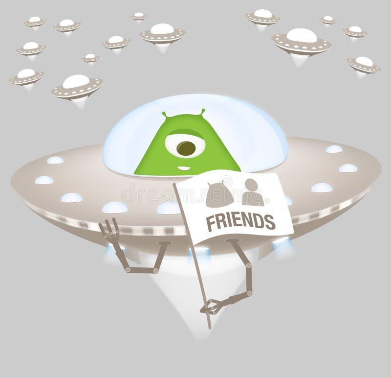 Дружелюбный чужеземец в космическом корабле бесплатная иллюстрация