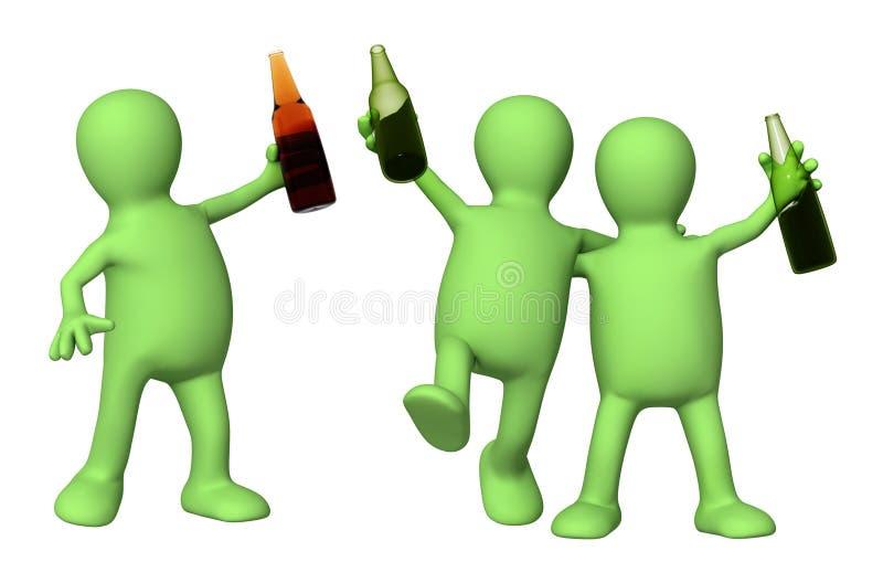 друзья бутылок пива жизнерадостные бесплатная иллюстрация