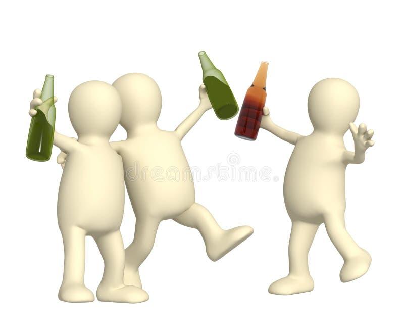 друзья бутылок пива жизнерадостные иллюстрация штока