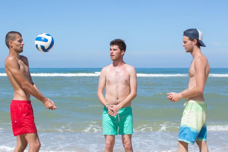 Друзья группы играя волейбол на пляже стоковая фотография