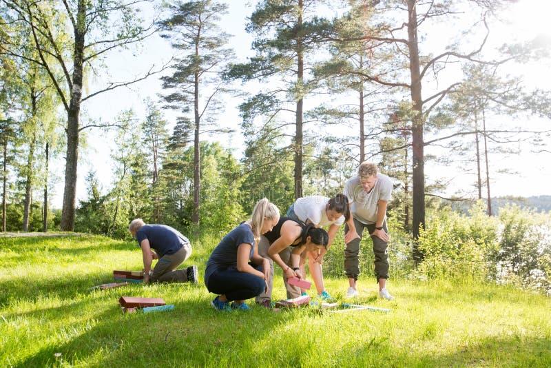 Друзья играя с строительными блоками на травянистом поле стоковое изображение rf