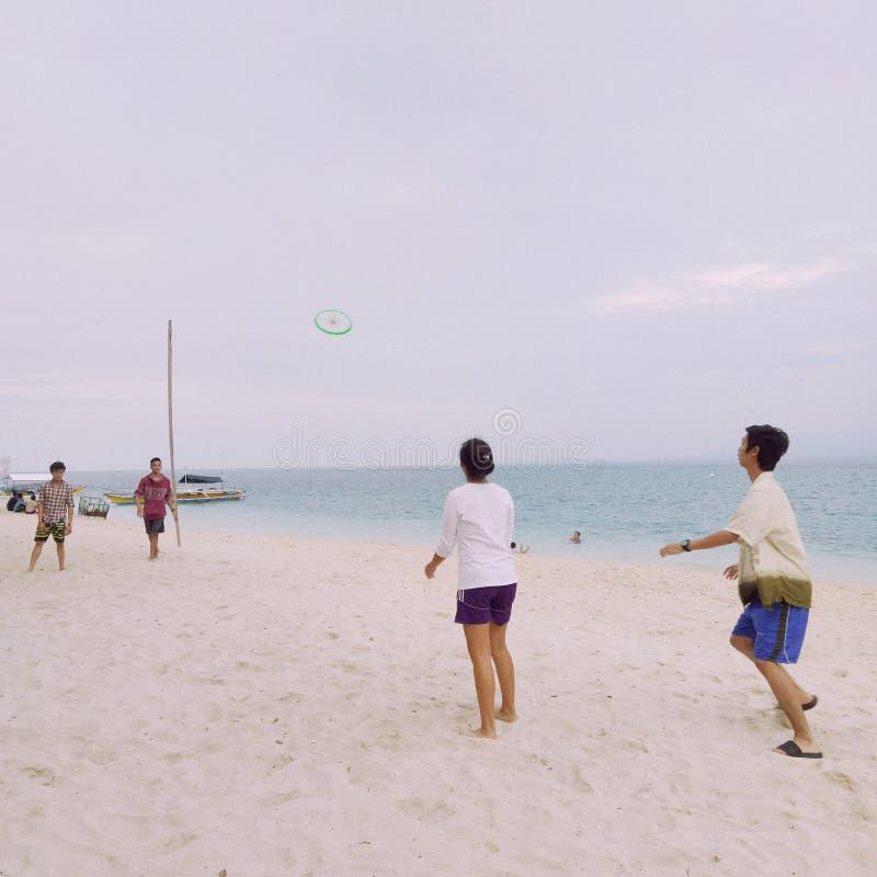 Друзья играя Frisbee стоковые фотографии rf