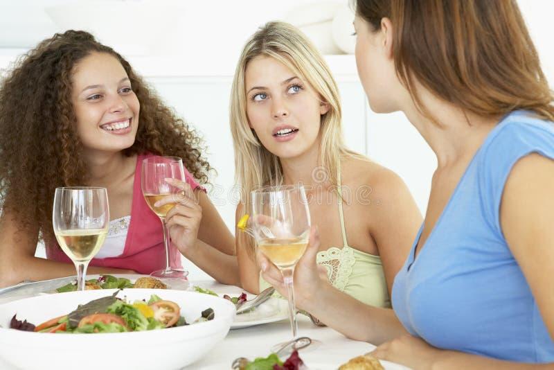 друзья имея домашний обед ослабить стоковые изображения