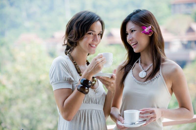 Друзья имея кофе стоковое изображение rf