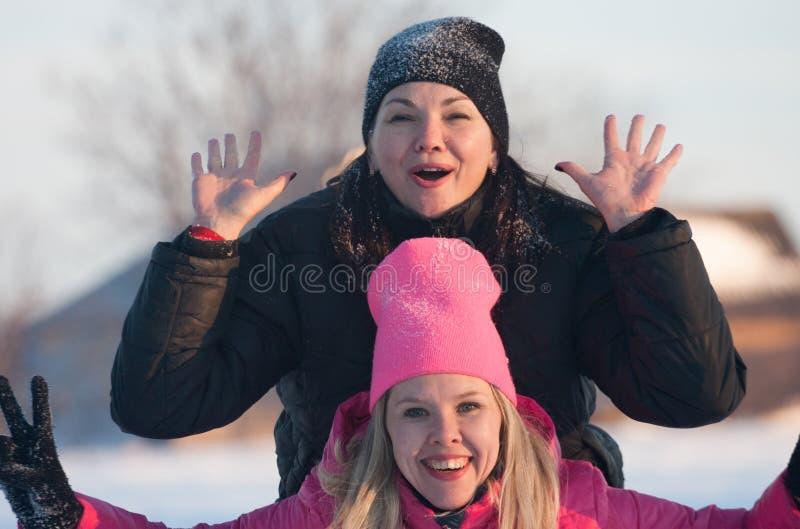 Друзья имея selfie на снеге стоковое изображение
