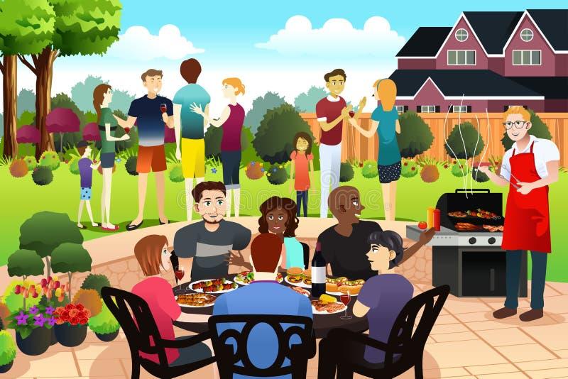 Друзья и семья собирают совместно иметь партию BBQ в Summe иллюстрация штока