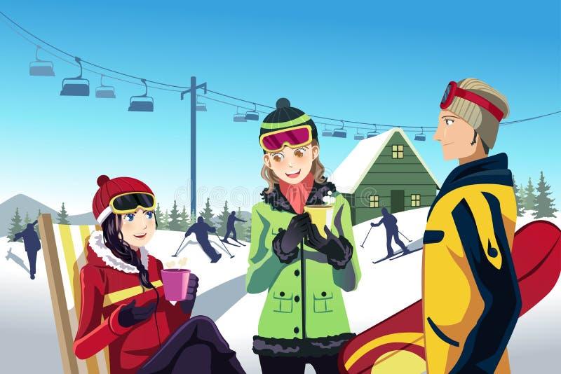 Друзья катания на лыжах иллюстрация вектора