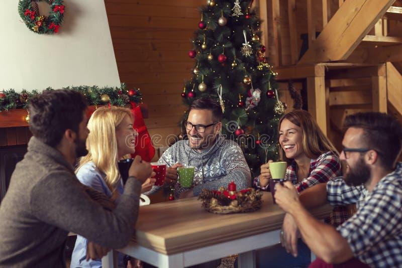 Друзья наслаждаясь кофе утра рождества стоковое фото rf