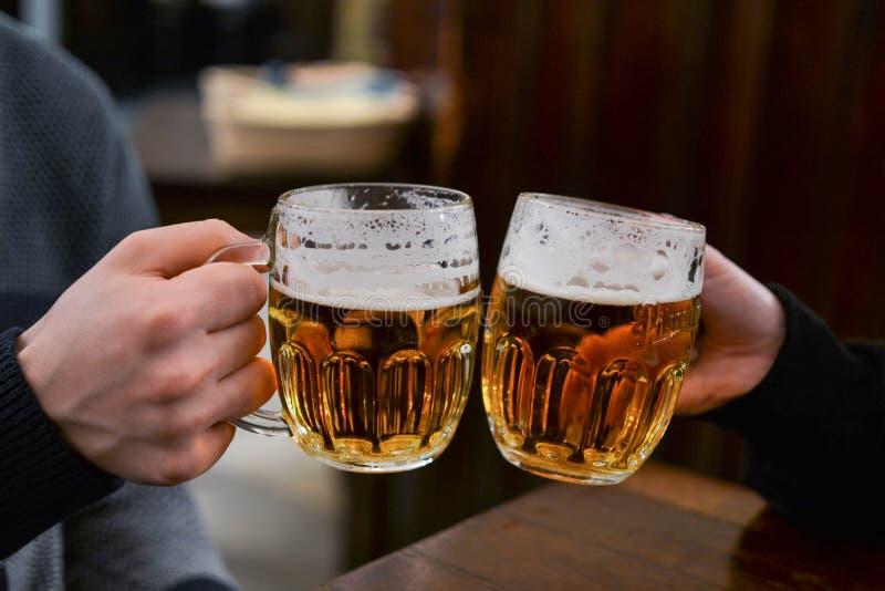 Друзья наслаждаясь пивом стоковое фото rf