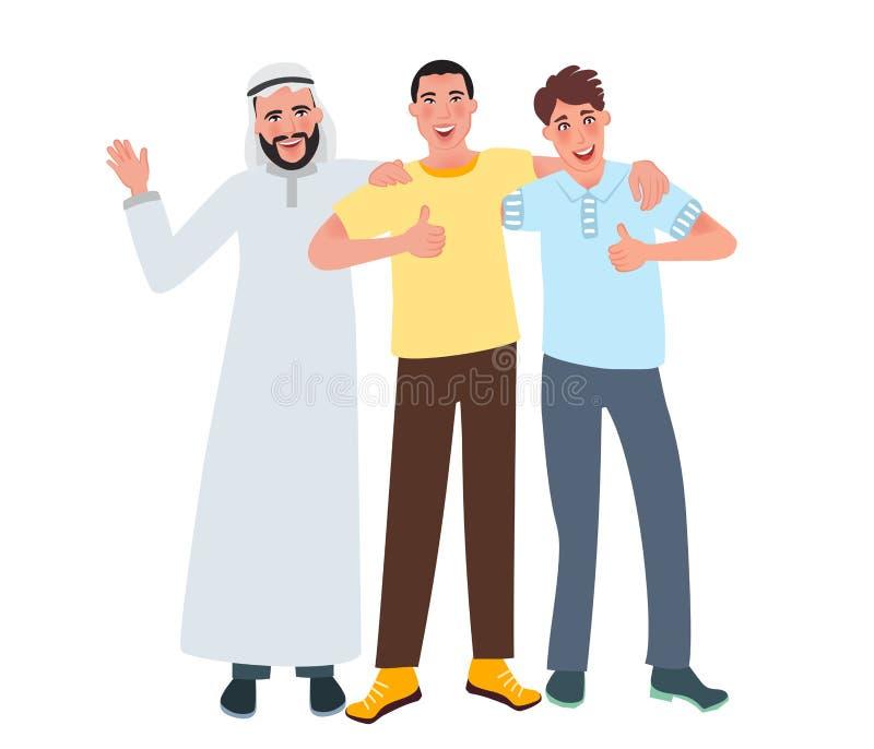 Друзья парней различных национальностей обнимая и указывая вверх, все будут точны Мужское приятельство, сообщение, встреча иллюстрация вектора